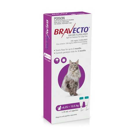 Bravecto Cat Spot-on Purple 6.25-12.5kg (2 x 3 months)