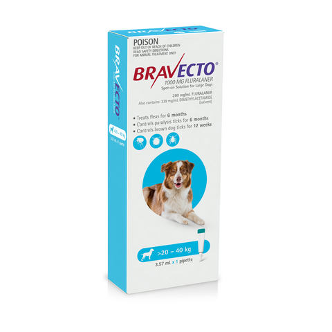 Bravecto Spot-on Blue 20-40kg Large Dogs (6 months)
