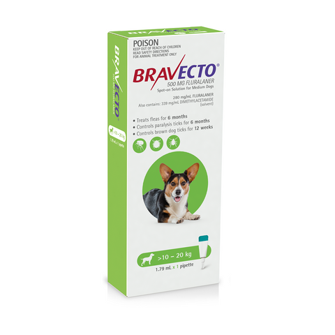 Bravecto Spot-on Green 10-20kg Medium Dogs (6 months)