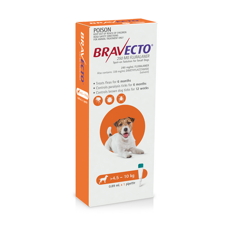 Bravecto Spot-on Orange 4.5-10kg Small Dogs (6 months)