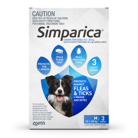 Simparica Blue 10-20kg Medium Dogs