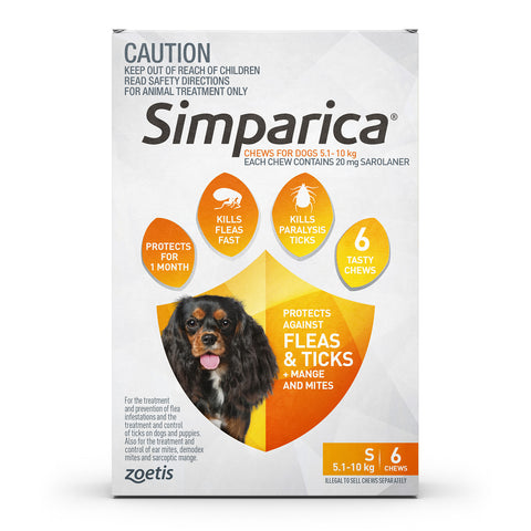 Simparica Orange 5-10kg Small Dogs