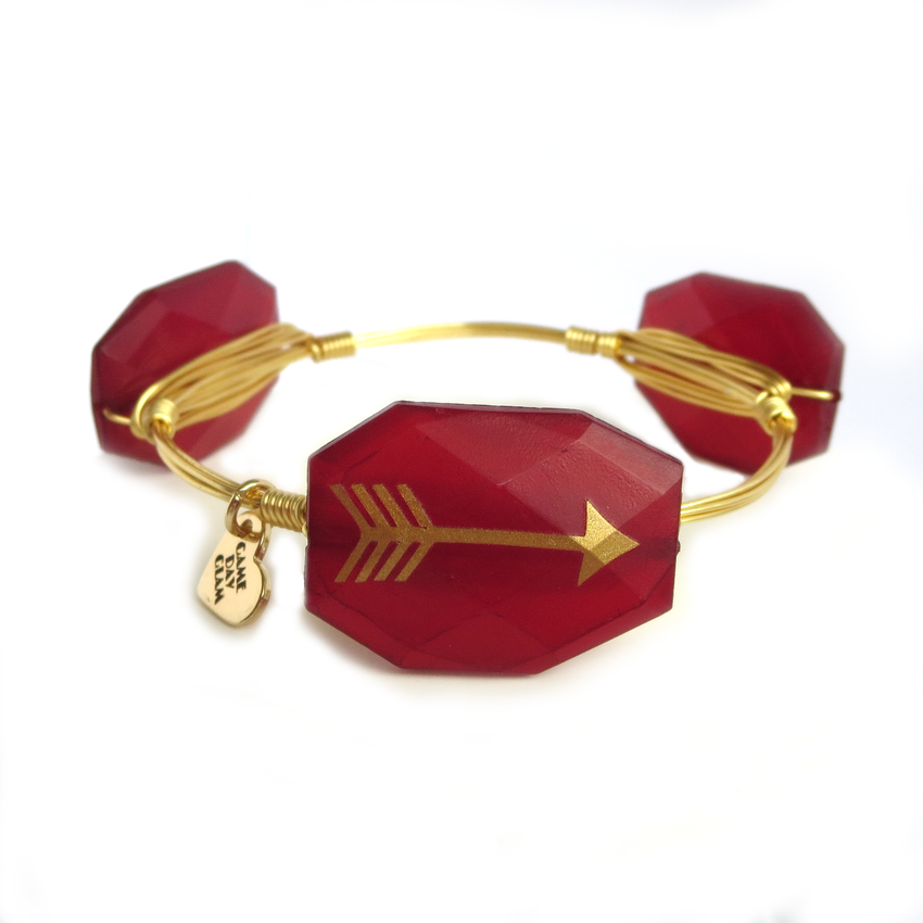 Garnet and Gold Arrowhead Bangle Bracelet - FSU Jewelry, Florida State Jewelry - Game Day Glam