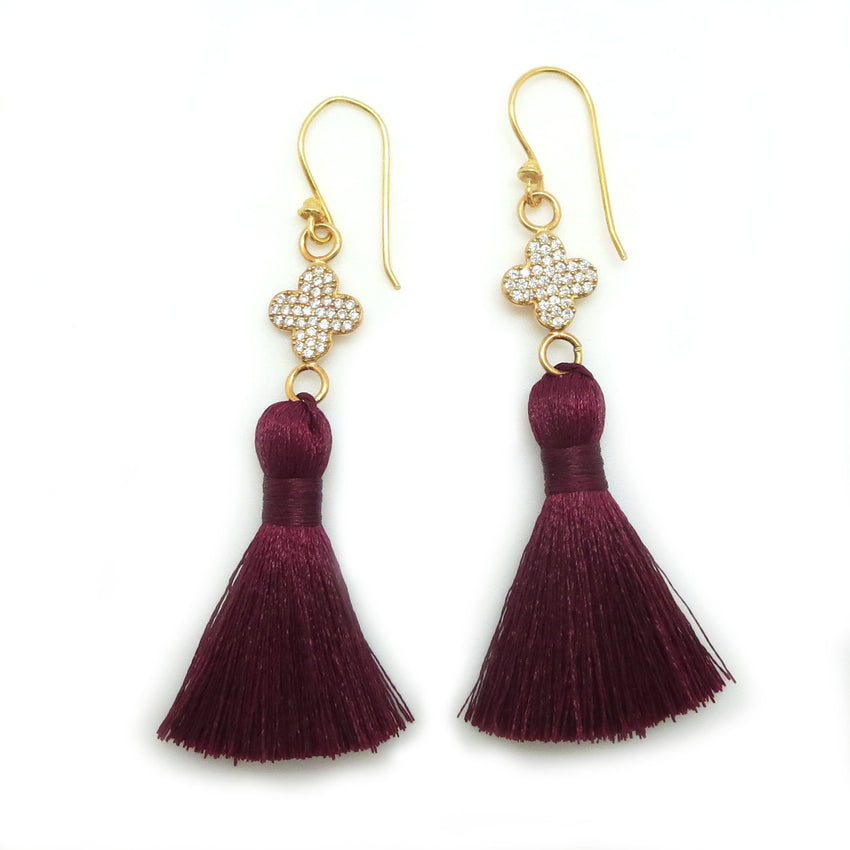 Garnet and Gold Tassel Earrings - FSU Jewelry, Florida State Jewelry - Game Day Glam