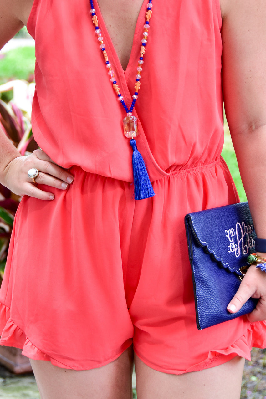 UF Jewelry, University of Florida Jewelry, Game Day Glam, orange and blue necklace