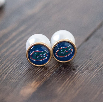 UF Gator Pearl Stud Earrings