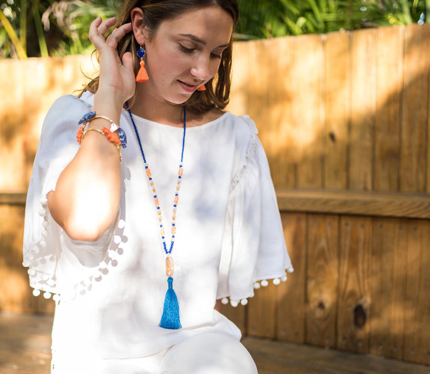 Orange and Blue Tassel Earrings
