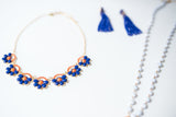Orange and Blue Floral Bib Necklace