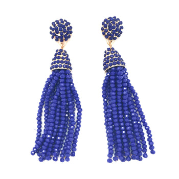 Gator Blue Shimmer Tassel Earrings