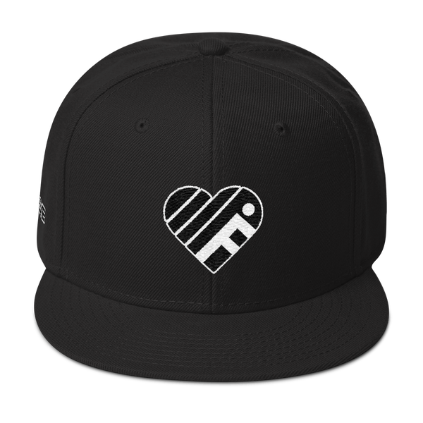 iFanLove - Snapback Hat - Black and White Thread Colors v2