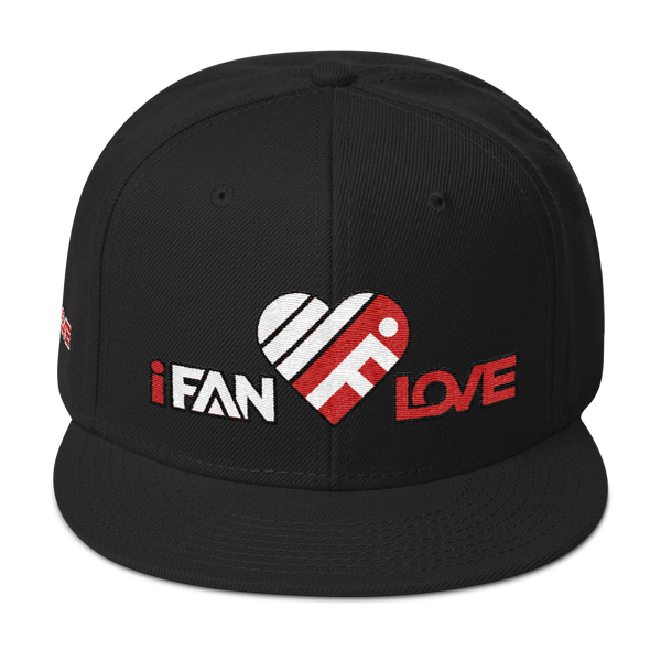 iFanLove - Snapback Hat - Red, Black & White Thread Colors v1