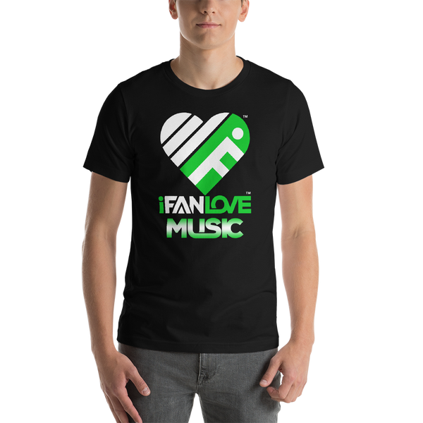 iFanLove - Music - Short-Sleeve - Men & Women - Unisex T-Shirt - White & Green Design v1