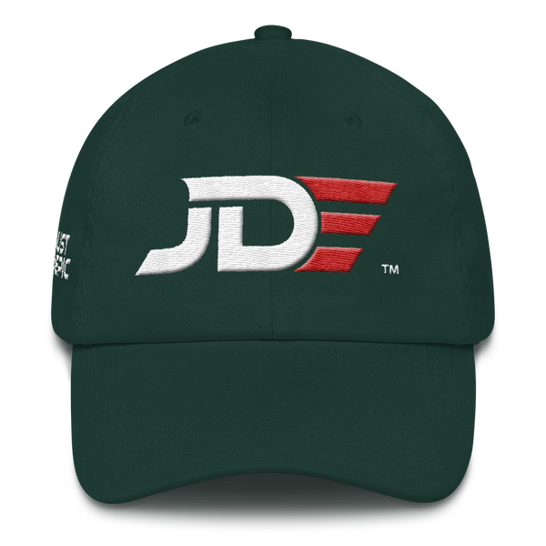 JUST DO EPIC - JDE Hat - Low Profile Adjustable Strap Visor - White & Red Thread Colors 3D Design