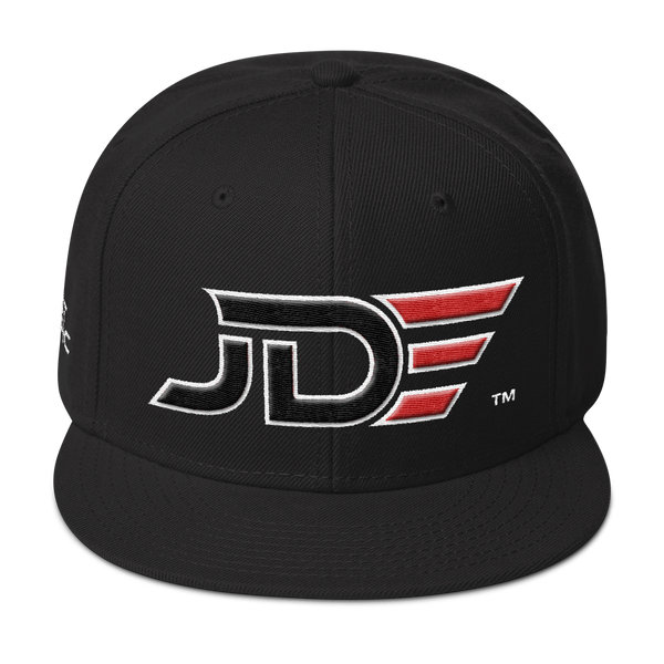 JUST DO EPIC - JDE Snapback Hat - Black, White and Red Thread Colors 3D Design