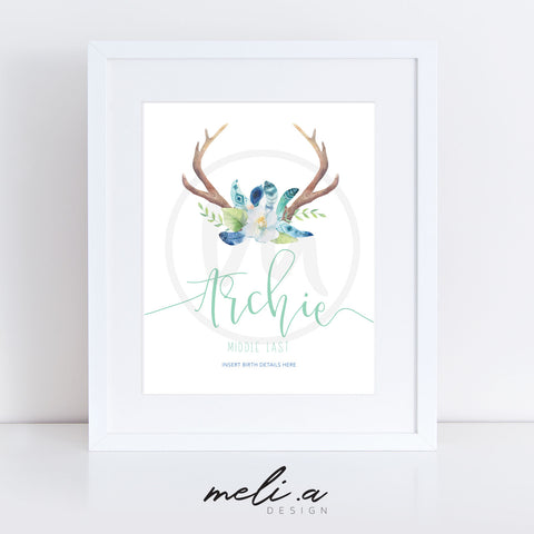 'Archie Design' Personalised Birth Print
