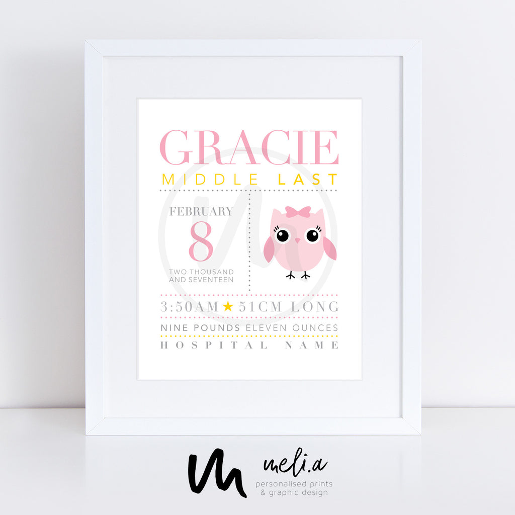 'Gracie Design' Personalised Birth Print (Most Popular)
