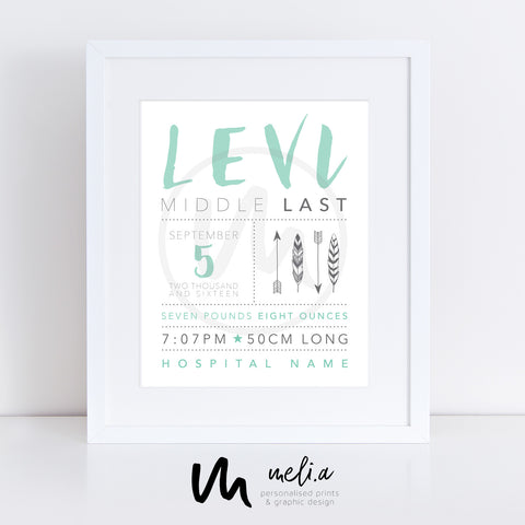 'Levi Design' Personalised Birth Print
