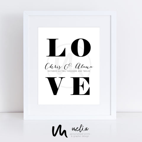 'Love' Personalised Date Print