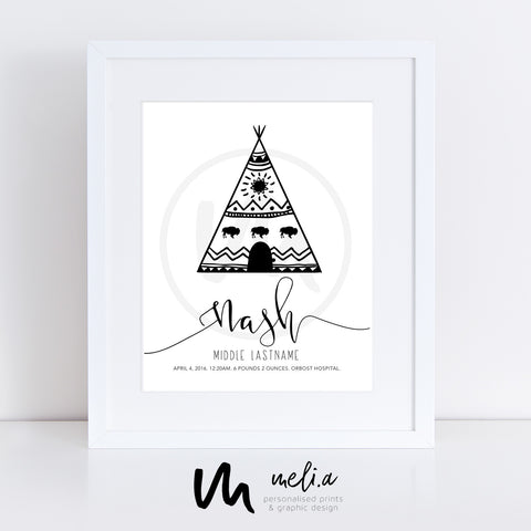 'Nash Design' Personalised Birth Print