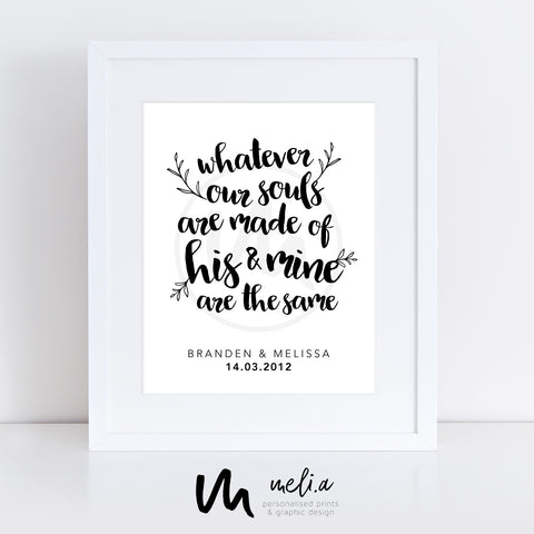 'Our Souls' Personalised Wedding Print
