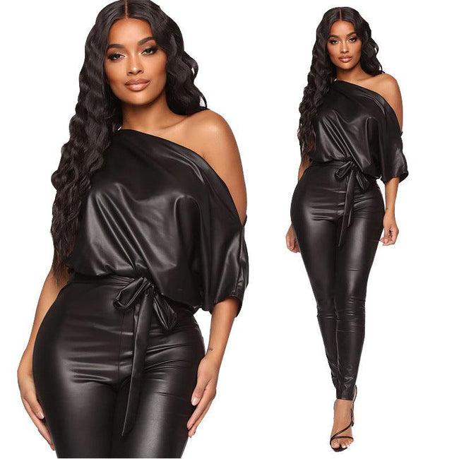 Strapless leather jumpsuits