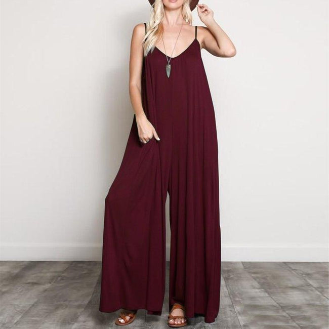 V Neck Long Jumpsuits