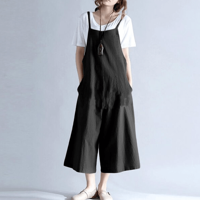 Loose large size wide leg one-piece overalls