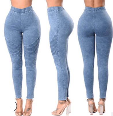 Fine crease high waist hip ladies jeans