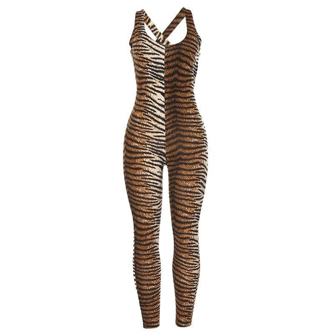 Leopard sports fitness openwork jumpsuit