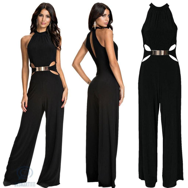 Flared black sling jumpsuit