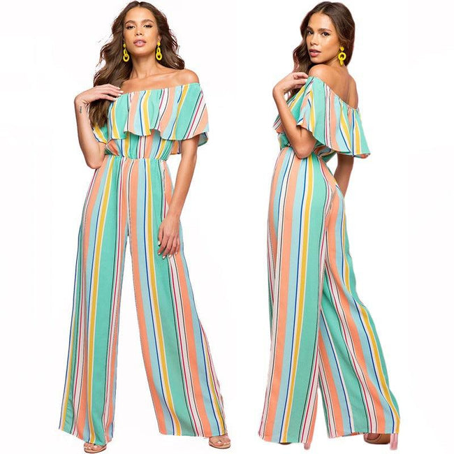 Printed striped women's jumpsuit