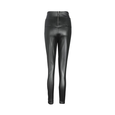 Sexy zipper high waist skinny leather pants