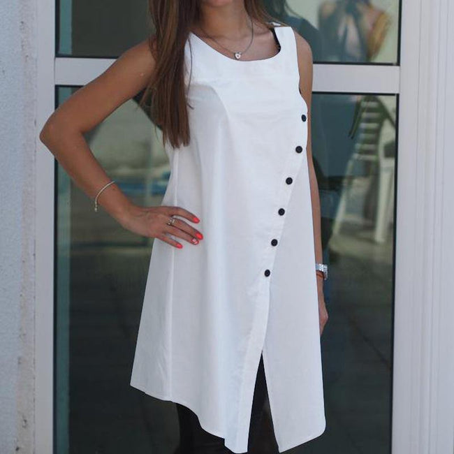 A sleeveless button-down shirt