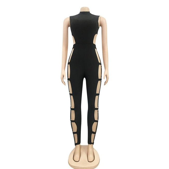 Hollow back skinny jumpsuit