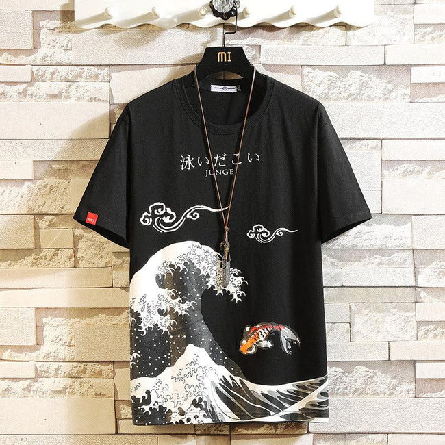 Men's casual printed large size short sleeves