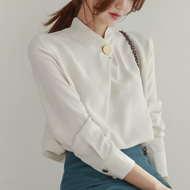 Top shirt long sleeve stand collar