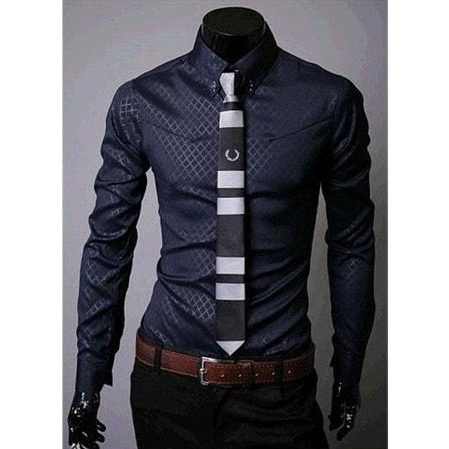 Fitted Shirts For Men Designer Plaid Stripes