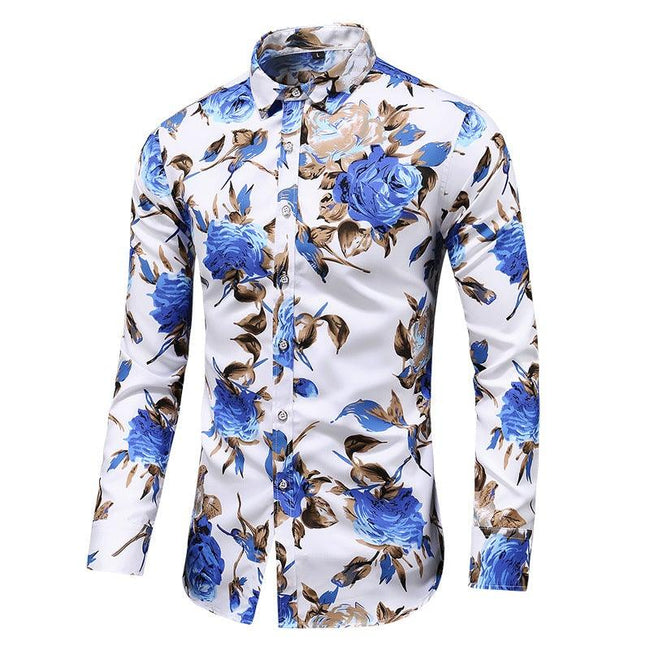 Lapel print long sleeve shirt