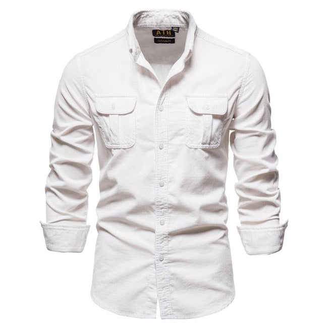 Solid Color Corduroy Men Shirts