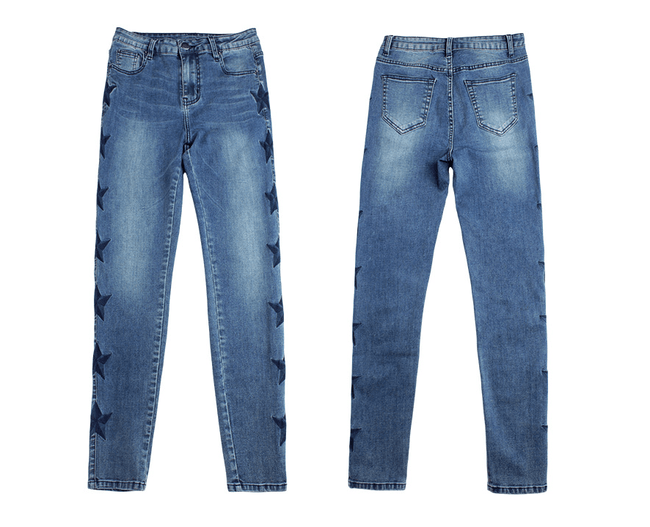 Embroidered stars pattern denim