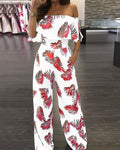 Printed word collar ruffled loose jumpsuit