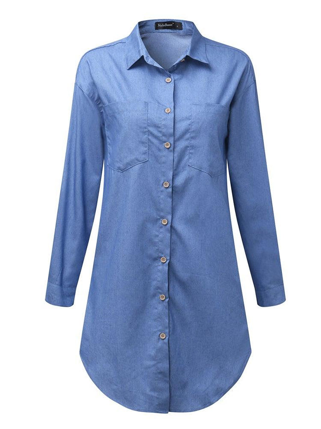 Long Sleeve Turn-down Collar Denim Shirts