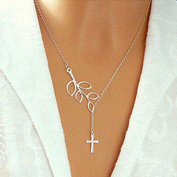 Gold Silver Leaves Bird Cross Infinity Necklace