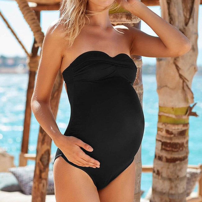 Two Piece Set of Solid Cross Strap Maternity Swimsuit