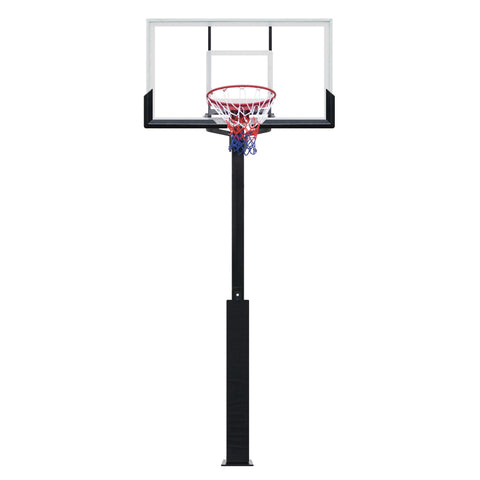 Basketball hoop with fixed steel base
