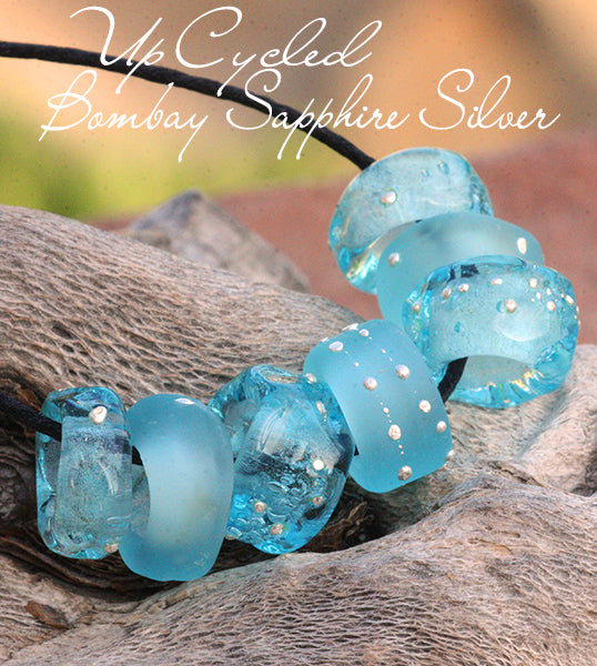Up Cycled Lampwork Pandora Charm beads in Bombay SApphire