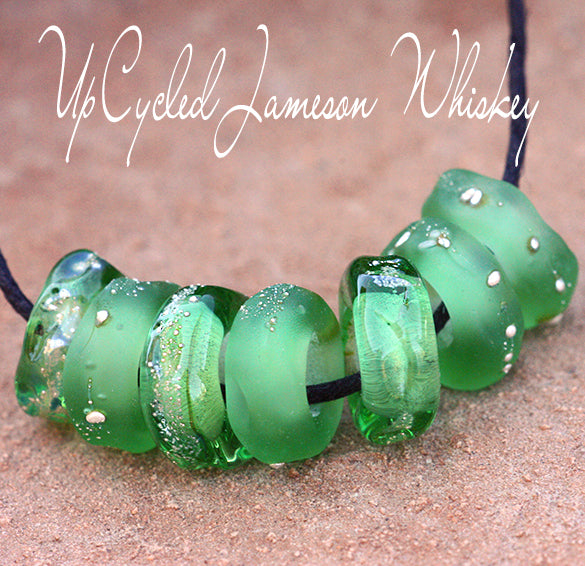 Upcycled Lampwork Charms in Jameson Whiskey