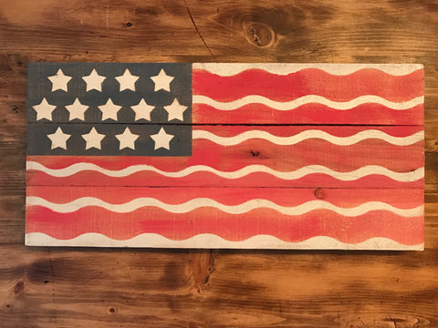 Wavy Distressed American Flag Sign