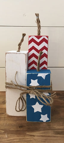 Patriotic Wooden Firecrackers (set of 3)