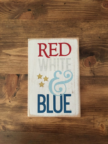 Red, White, and Blue Sign with Stars Sign